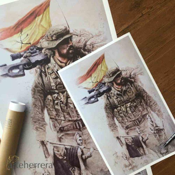 lamina centenario legion espanola ejercito tierra herrera
