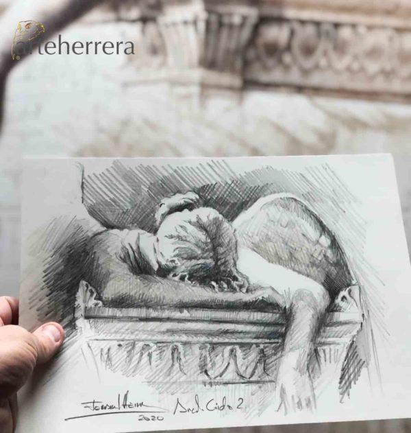 angel caido boceto herrera dibujo