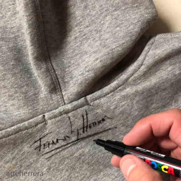 sudadera Hoody arteherrera logo buho firmada