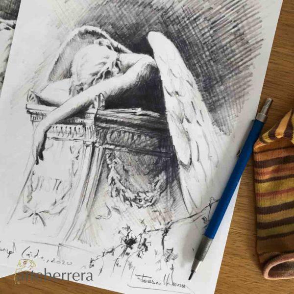 boceto angel del dolor herrera dibujo