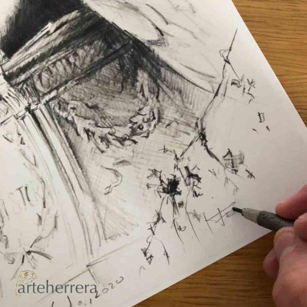 boceto angel del dolor herrera dibujo firmado