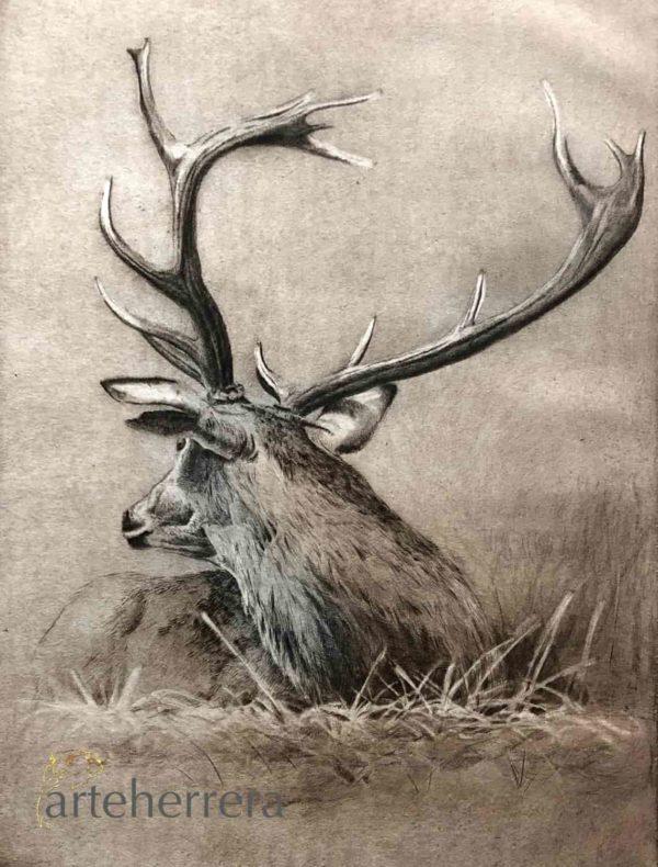 grabado venado caza arteherrera herrera