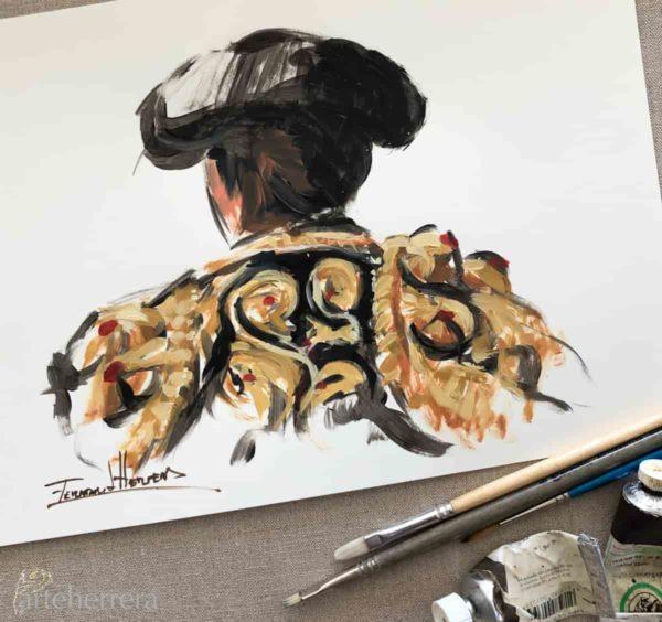 boceto torero negro oro herrera arteherrera