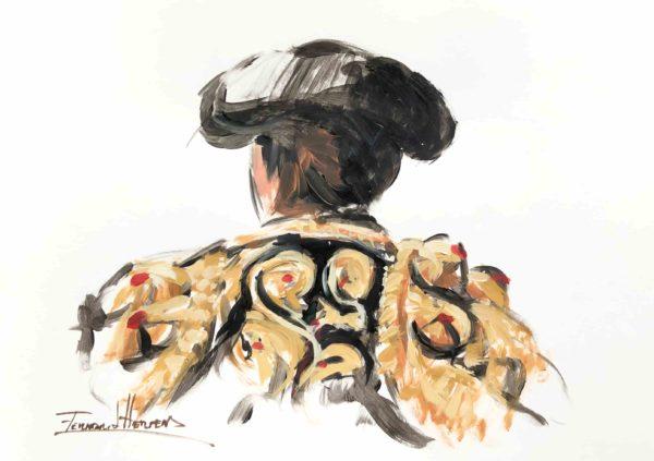 boceto torero negro oro herrera arteherrera dibujo