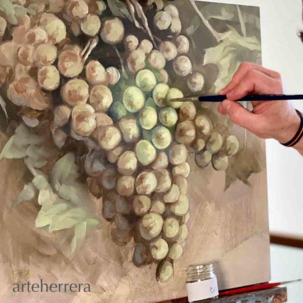 uvas blancas bodegon cuadro arteherrera
