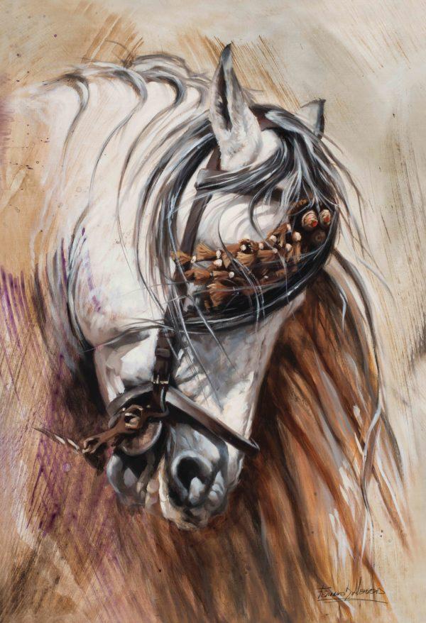 caballo español sorrel lienzo arteherrera