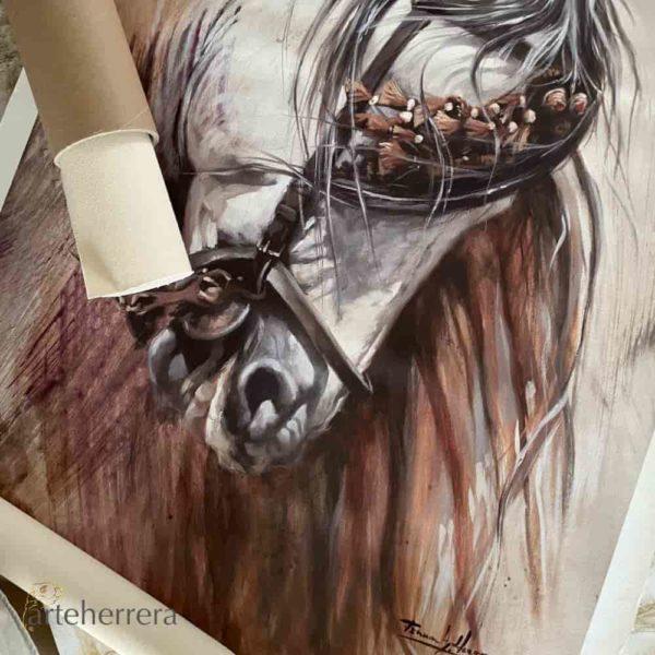 caballo español sorrel lienzo arteherrera cuadro
