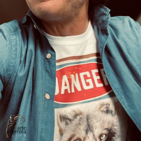 danger lobo camiseta arteherrera blanca herrera