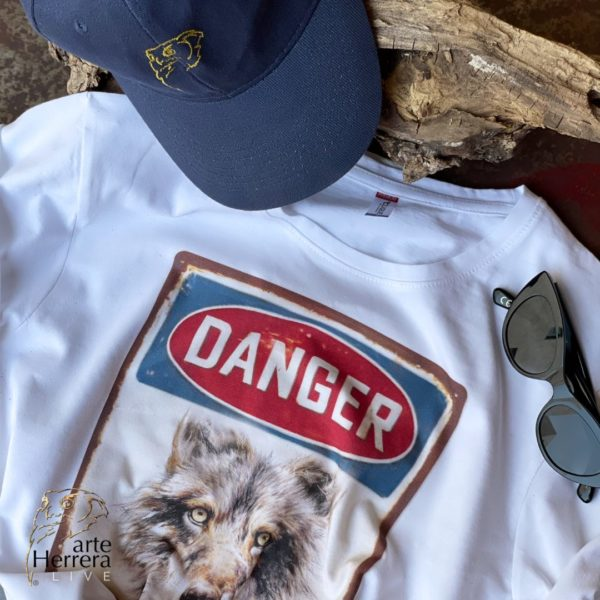 danger lobo camiseta arteherrera blanca viaje