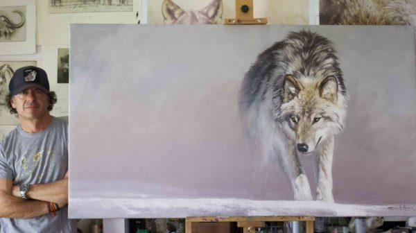 lobo solitario wolf herrera oleo