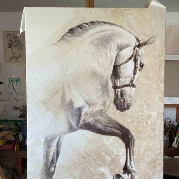 caballo herrera dibujando lienzo